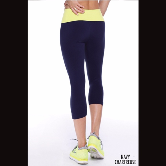 8acfa5c049 Nikibiki Pants | Yellow And Navy Capri Flex Fit Yoga | Poshmark